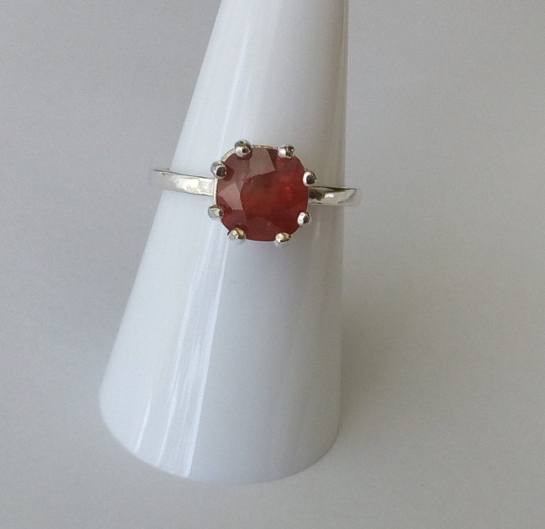natural orange sapphire ring sterling silver ring size 7 songea sapphire solitaire ring cushion promise engagement ring jewelry
