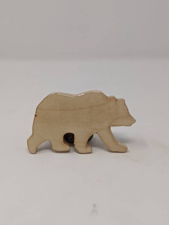 Handmade bear shaped refrigerator magnet.  Made from maple wood.  Free shipping.