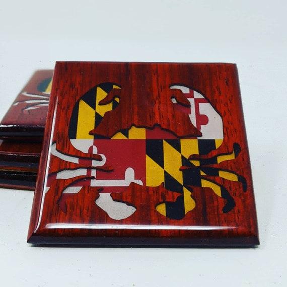 Maryland Flag Crab Coasters.  Padauk wood.  Free shipping