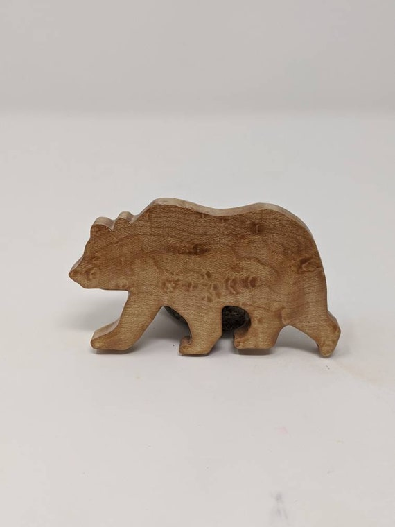 Decorative, handmade, Birdseye maple bear refrigerator magnet.  Made from reclaimed wood. Free shipping.