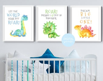 Dinosaur Nursery Wall Art Set, Set of 3 Dinosaur Prints, Dream Big Little One Print, Baby Nursery Decor, Kid Bedroom Wall Art, Baby Gift