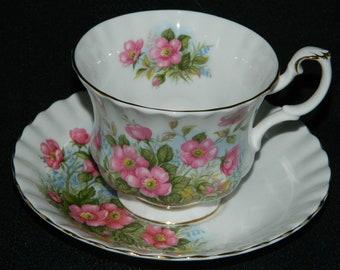 Vintage Royal Albert Bone China Sunnyside Series PETULA tea cup & saucer England Pink Flowers