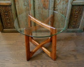 Adrian Pearsall Glass Top Walnut Base Side Table Model 2460 T24 for Craft Associates