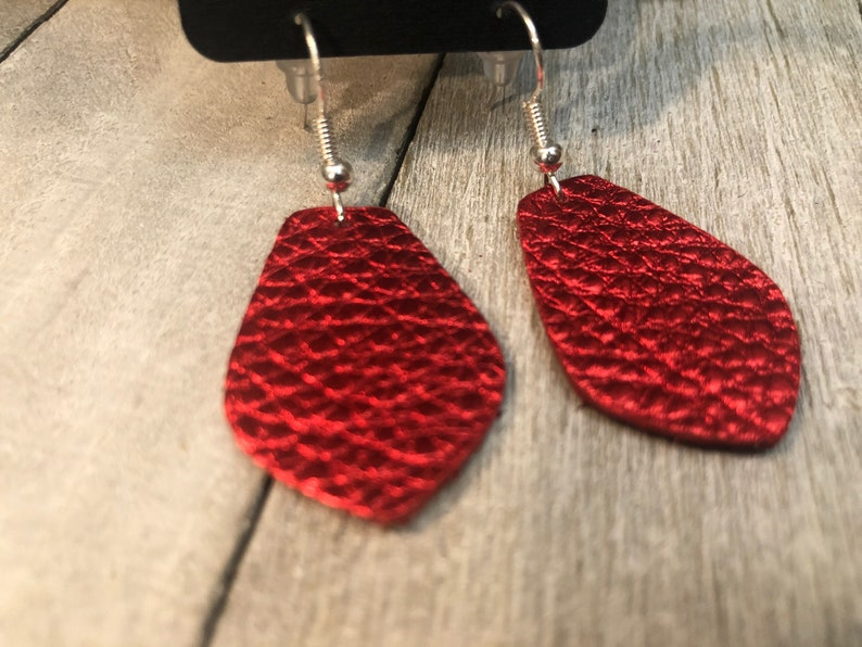 Mini Red Leather Earrings