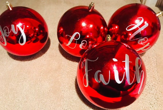 Personalized Christmas Ornaments Christmas Ornaments Red Christmas Balls Christmas Tree Decor