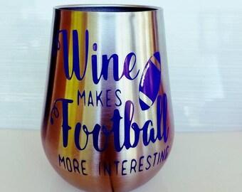 FOOTBALL OZARK WINE Glass