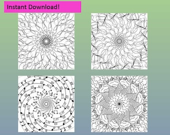 Coloring Pages.  Handmade instant download printable.  Set of 4
