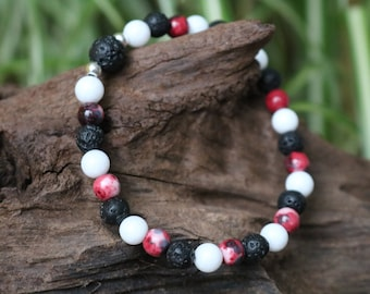 Bracelet natural pearls - White Jade, red/brown Jade, lava and Sterling Silver 925