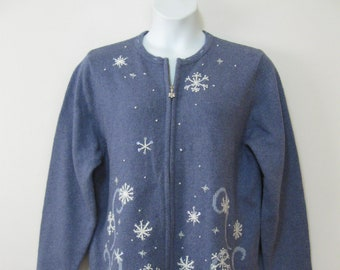 Misses XL Blue Zip Front Cardigan Sweater with Embroidered Snowflakes Silk Blend Embellished See Details