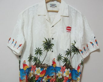 075e080e Vintage Mens XL Awesome Cotton Aloha Shirt Short Sleeve Parrots Floral  Print Matched Pocket Hawaii Made HINES Embroidered Advertising Logo