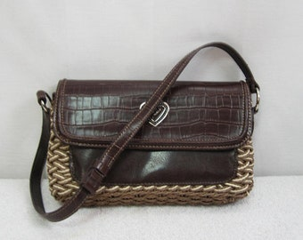 COLDWATER CREEK 1-18Vintage Smaller Size Brown Croc Faux Leather   Woven  Material Purse - Small Handbag - Coldwater Creek Vintage 235b14b4a3ed3