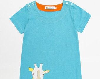 Blue Giraffe Girls Dress