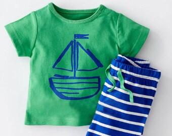 Boys Beach T-Shirt & Short Set Sailboat