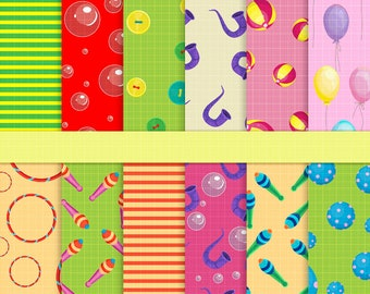Clown digital papers, Carnival Papers, Circus digital papers, Circus scrapbook papers, Circus party paper, Clowns, Circus paper pack