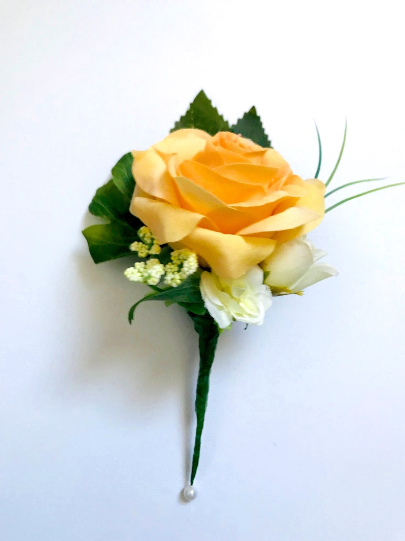 R\u00f2s Collection Yellow Rose Buttonhole Artificial