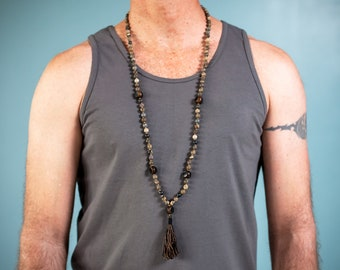 Jasper and Burnt Horn Mala (Balance & Protection) 108 Beaded-Necklace, Hand Tied, Silver Accents, Brown/Black Silk Tassel, for Men and Women