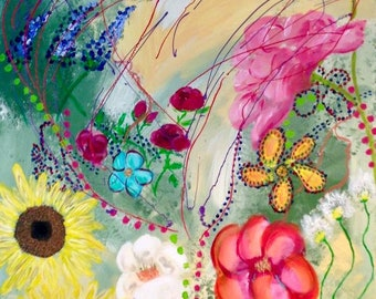 """Painting """"Multi Flower Power"""" in acrylic paint"""