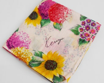 Kenzo Handkerchief Kenzo Paris Floral Vintage Hanky Handkerchief Kenzo Pocket Square Scarf