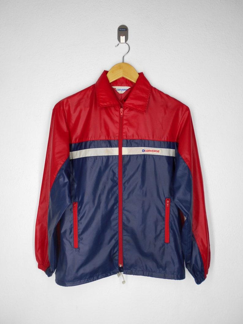 d8242bc8a Converse Windbreaker Converse Jacket Vintage 90's Converse One Star Sweater  Converse Vintage Nylon Jacket Size S