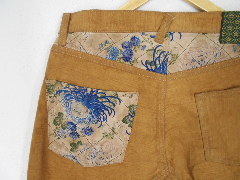 Kura Jeans Kura Japanese Traditional Design Patchwork Wabash Denim Pants Kura Vintage Pants Made in Japan Size 32x32