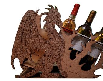 Bottle holder dragon wooden box of 5mm