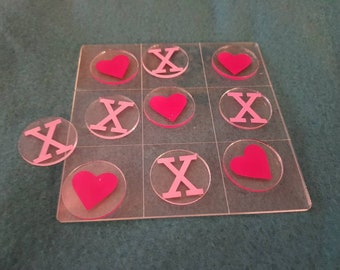 Acrylic Noughts and crosses ( hearts and kisses) 12x12cm