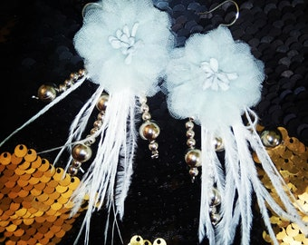 White lace and feather earrings
