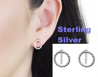 3a56b0c19 Comfortable 925 Sterling Silver Circle Clip On Earrings, Textured Hoop Sterling  Silver Invisible Clip On Earrings, Non Pierced Earrings