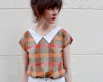 Cute Plaid Summer Blouse Vintage 70s S M Sweetheart Wes Anderson Short Sleeves Pointy Collar T-Shirt