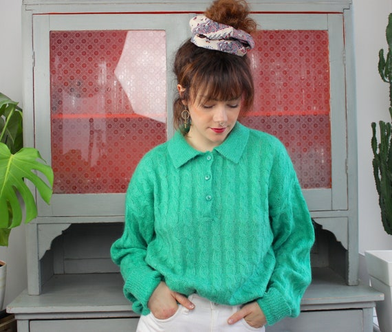Vintage Mohair Polo Pullover 80s / L / Seafoam Gre