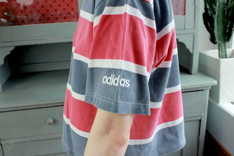 2ef47968f61ca RARE Vintage adidas Polo Shirt 90s Sailing Team Pique Striped Cropped Boxy  Spring Summer Short Sleeves