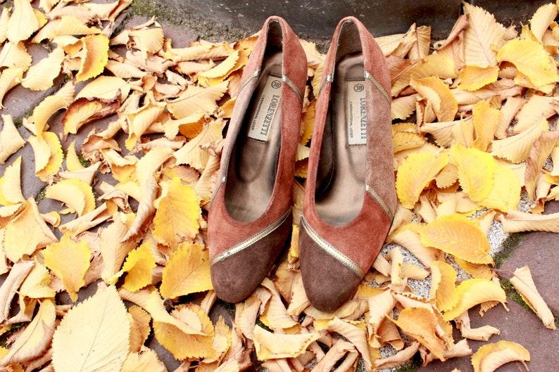 5ac10600229 Vintage Shoes Pumps 80s EU38 US 7.5 Spring Suede Brown Striped Elegant  Kitten Heels High Heels Italian Copper