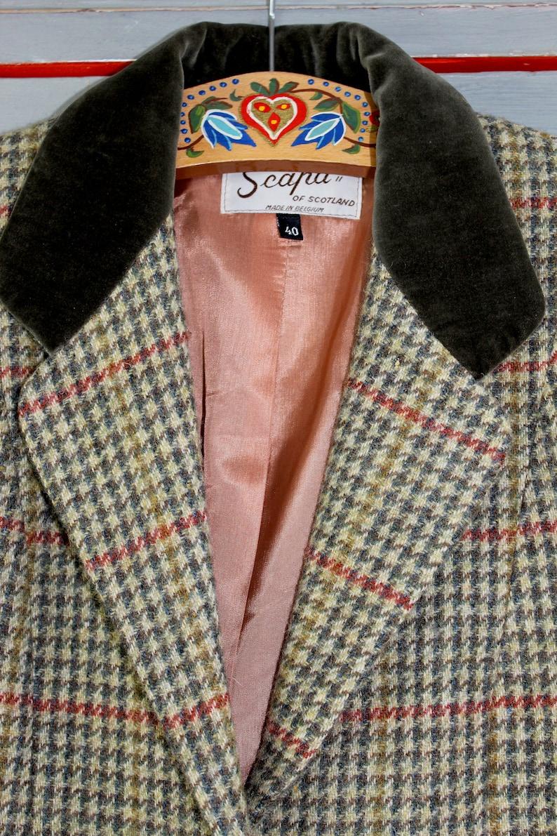 Vintage Blazer 60s 70s  40 M  Luxurious Preppy Green Beige Houndstooth Velvet Scapa of Scotland Wool Blazer