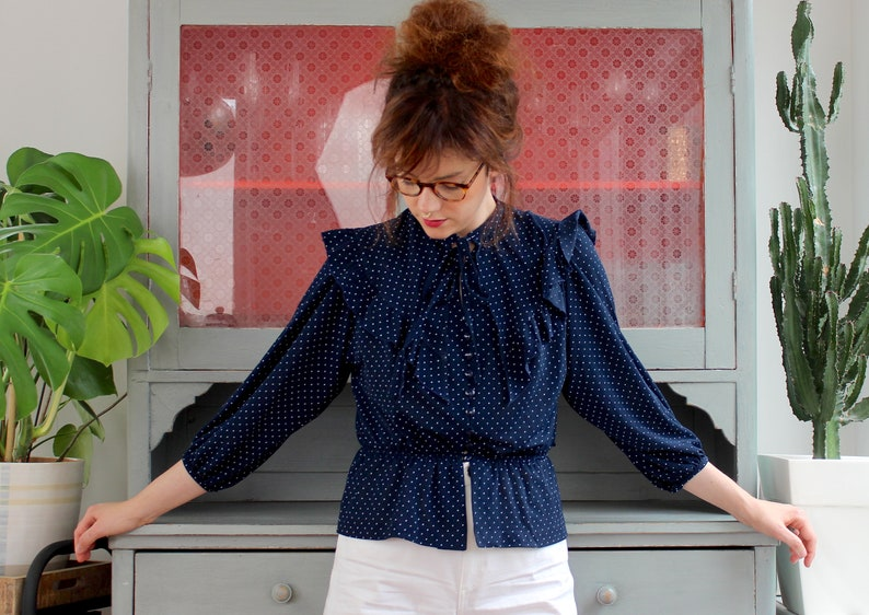 Vintage Blouse 80s Dark Blue Ruffled Romantic Spring Polka Dots Waistband Victorian Style