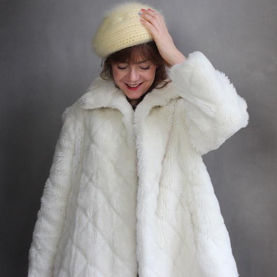Rare Vinage Faux Fur Coat 80s / DE42 M L / White F
