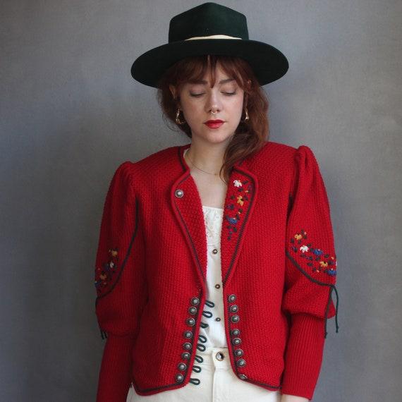 Vintage Folk Cardigan 80s / DE40 M / Red Puff Slee