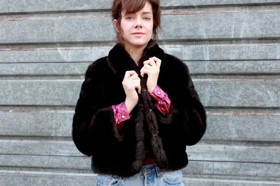 Vintage Fake Fur Jacket 80s / Brown Mini Coat / Fu