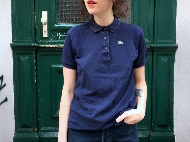 2f09f77396fdd Vintage Lacoste Poloshirt 80s Spring Classic Dark Blue Piqué Short Sleeves  Tennis Shirt Sportswear Athleisure