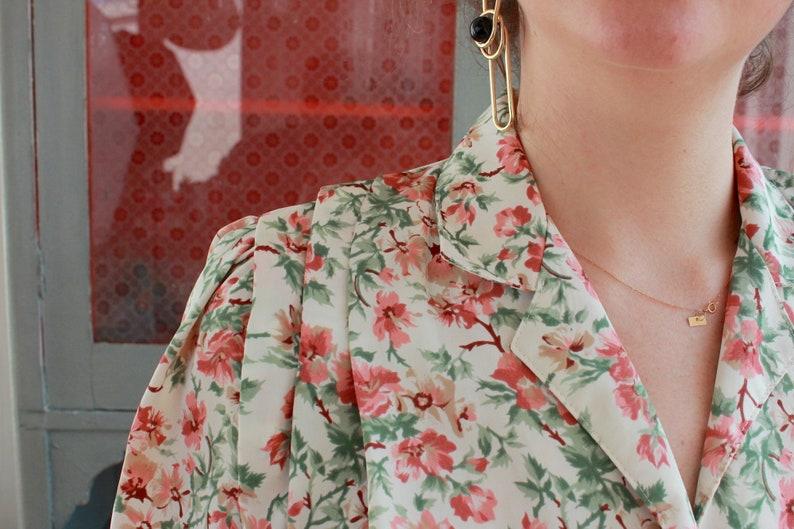 Vintage Flower Blouse 70s White Floral Rose Pink Green Short Sleeve Spring Summer Hippie Boho Romantic