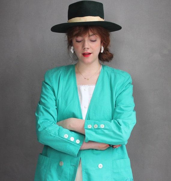 Vintage Blazer 90s  Y2K Vichy Plaid Minimalist Long Oversized Blazer  Beige Blue Green Plaid Jacket