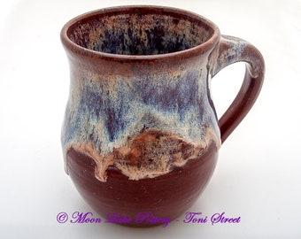 Handmade Pottery Mug, Wheel-Thrown Pottery, 24 ounce Coffee Mug, Red Coffee Mug, Drippy glaze