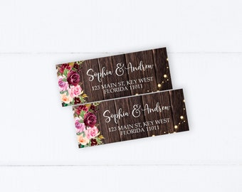 Watercolor Flowers Editable Address Label Printable Rustic Envelope Address INSTANT DOWNLOAD DIY Printable Sticker Templett Marsala