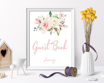 Boho Baby Shower Guest Book Sign Printable Party Blush Pink Floral Girl Template Instant Download PDF