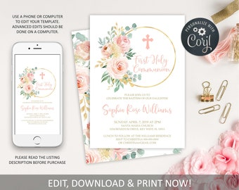 EDITABLE First Holy Communion Invitation Template, Blush Pink Floral Printable Baptism Invite, Girl Dedication Invititation,Instant download