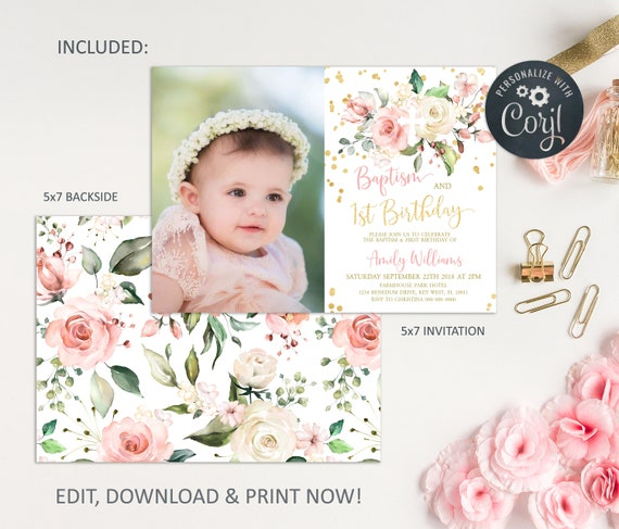 First Birthday Boho Flowers 1st Birthday Floral Party Invitation Instant Download DIY Printable Editable Pink Blush Gold Templett F1055