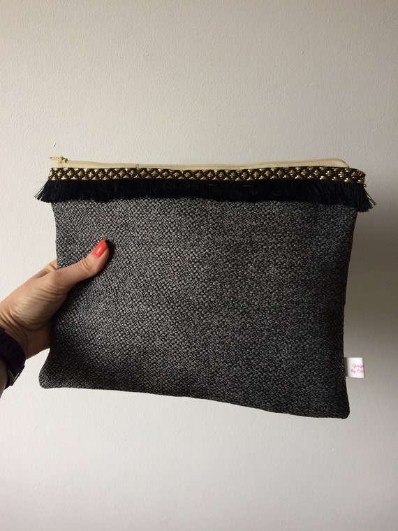Grey clutch bag with fringing, Art Deco bag with gold trim, party evening bag with tassels, textured grey clutch bag