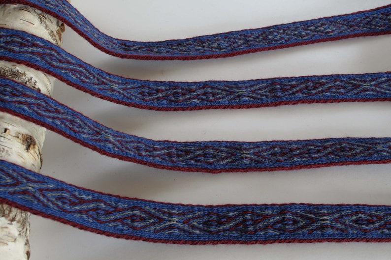 red and gray. Blue medieval historical braid Viking reenactment Tablet woven wool trim