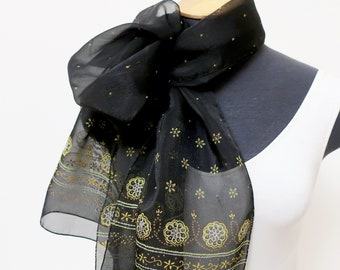 a54243ce4d020 1980s black and gold chiffon lightweight scarf for women