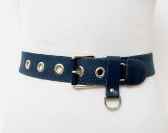 9ce170c7a 1980s navy blue wide cotton rivet belt for women