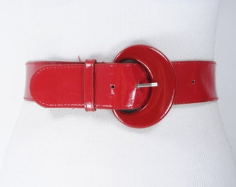 Red patent belt | Etsy